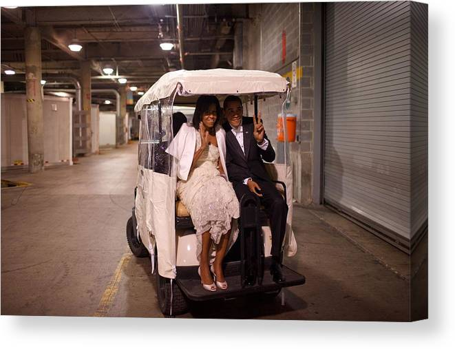 History Canvas Print featuring the photograph President And Michelle Obama Ride by Everett