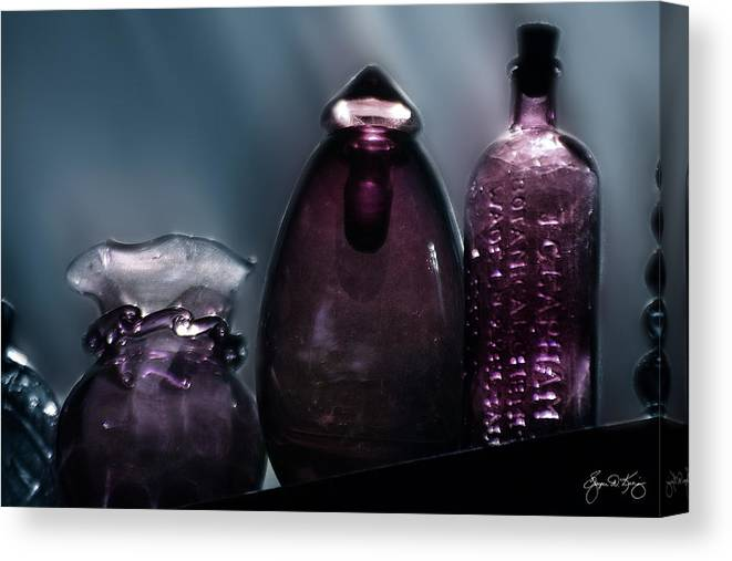 Wayne Canvas Print featuring the photograph Purple Bottles In A Window by Wayne King