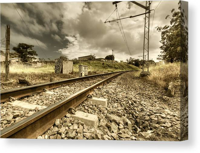 Landscape Canvas Print featuring the photograph Rail Contrasts by Paul Mack