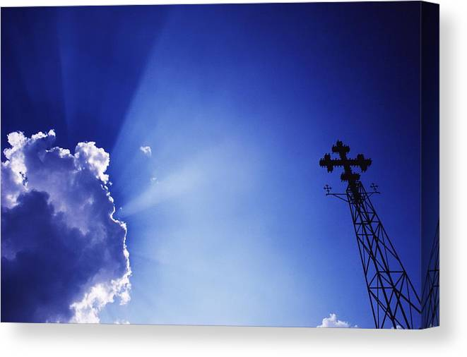 Sunshine Canvas Print featuring the photograph Rays Of Sunshine With Cloud And Cross by Axiom Photographic