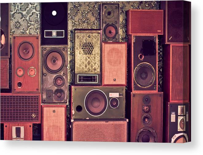 Speakers Canvas Print featuring the photograph Retro Speakers by Ariane Moshayedi