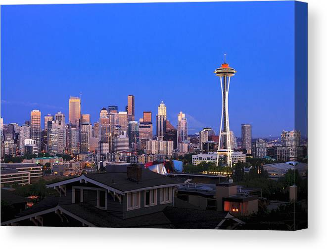 Seattle Skyline 7-7-12 Canvas Print featuring the photograph Seattle Skyline 3 by Mike Penney