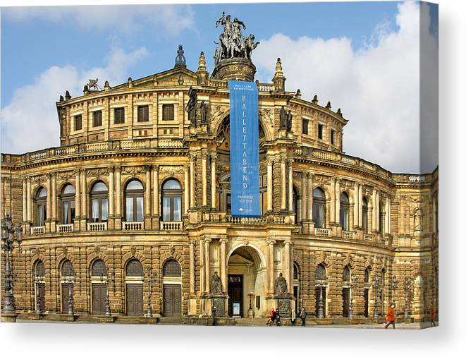 Semperoper Canvas Print featuring the photograph Semper Opera House Dresden by Christine Till