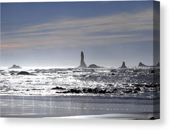 Sensational Seascape Canvas Print featuring the photograph Silvery Ocean At Second Beach by Marie Jamieson