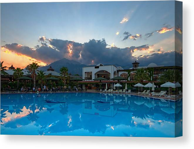 Architecture Canvas Print featuring the photograph Simena Sunset by Matt Create