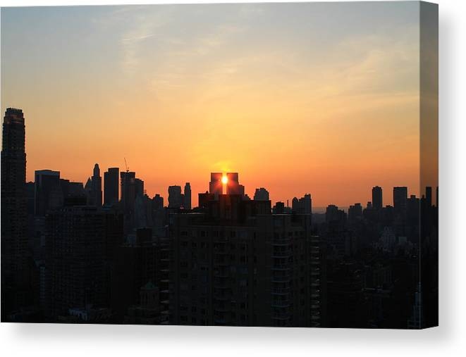 Nyc Sunset Canvas Print featuring the photograph Smack Dab In The Middle by Catie Canetti