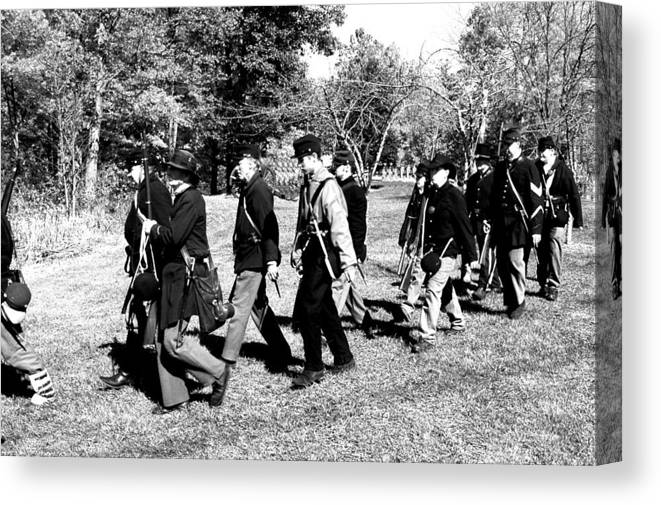 Usa Canvas Print featuring the photograph Soldiers March Black And White II by LeeAnn McLaneGoetz McLaneGoetzStudioLLCcom