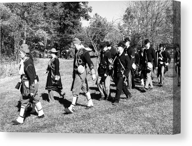 Usa Canvas Print featuring the photograph Soldiers March Black And White IIi by LeeAnn McLaneGoetz McLaneGoetzStudioLLCcom