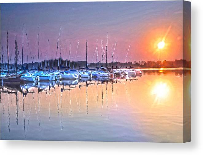 Sailboats Reflections In Golden Water Canvas Print featuring the photograph Summer Sails Reflections by Randall Branham