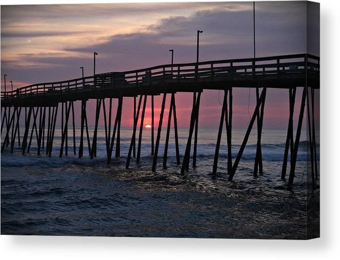 Sunrise Canvas Print featuring the photograph Sunrise At Avalon Pier by Andrea Stuart-Bishop