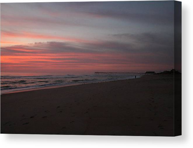 Sunrise Canvas Print featuring the photograph Sunrise Over Obx2 by Andrea Stuart-Bishop