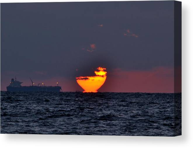 Sunset Canvas Print featuring the photograph Sunset Barge by Ahmed Moustafa