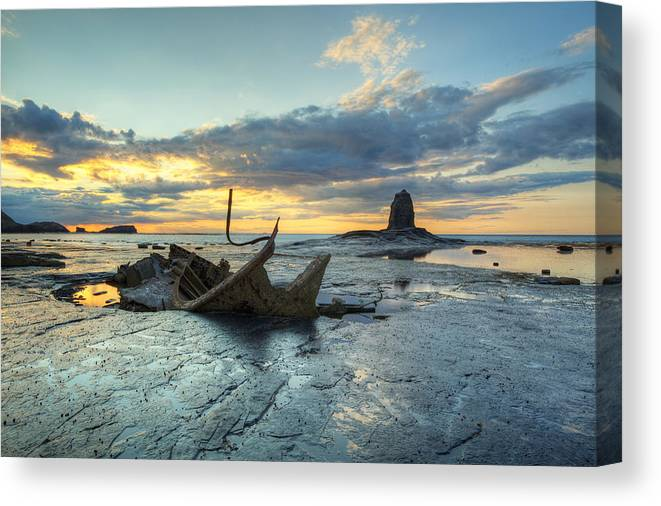 Saltwick Canvas Print featuring the photograph Sunset Over The Admiral by Martin Williams