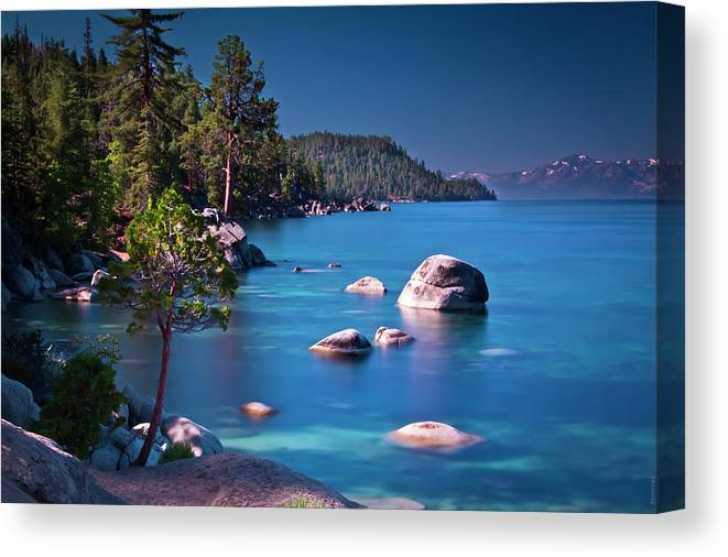 Donnimac Canvas Print featuring the photograph Tahoe On The Rocks by Donni Mac