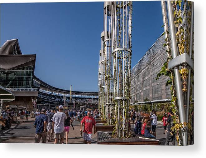 Minnesota Twins Minneapolis Target Field Baseball Crowd Fans Sky Blue Canvas Print featuring the photograph Target Plaza by Tom Gort