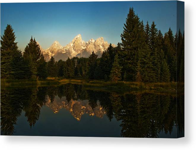 Mountains Canvas Print featuring the photograph Teton Reflections by Ron Sloan