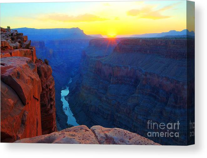 Grand Canyon Canvas Print featuring the photograph The Grand Canyon Solitude At Toroweap by Bob Christopher