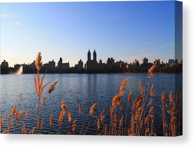 Central Park Canvas Print featuring the photograph The Reservior by Catie Canetti
