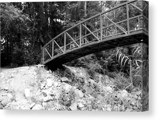 B&w Bridge Photograph Canvas Print featuring the photograph To The Other Side by Ester Rogers