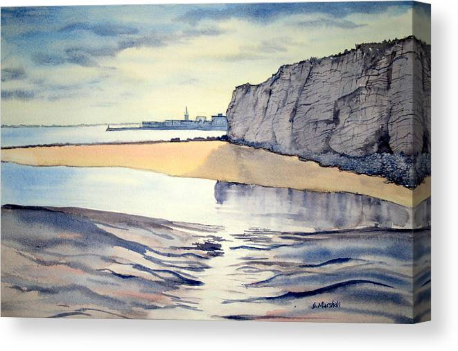 Watercolour Canvas Print featuring the painting Towards Bridlington From Dane's Dyke by Glenn Marshall