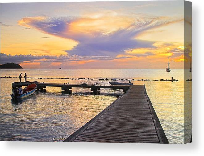 St Lucia Canvas Print featuring the photograph Tropical Sunset- 4- St Lucia by Chester Williams