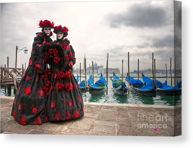 Carnaval Canvas Print featuring the photograph Venice Carnival Mask by Luciano Mortula