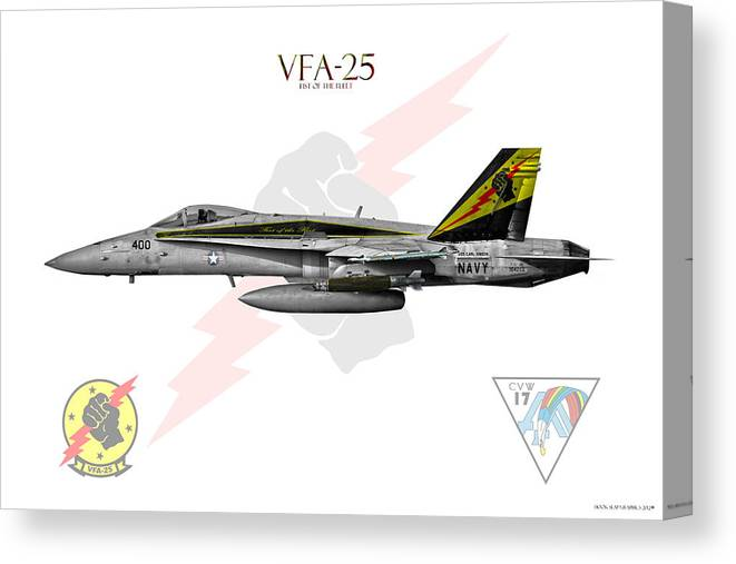 Canvas Print featuring the digital art Vfa-25 Fist Of The Fleet Charlie by Clay Greunke
