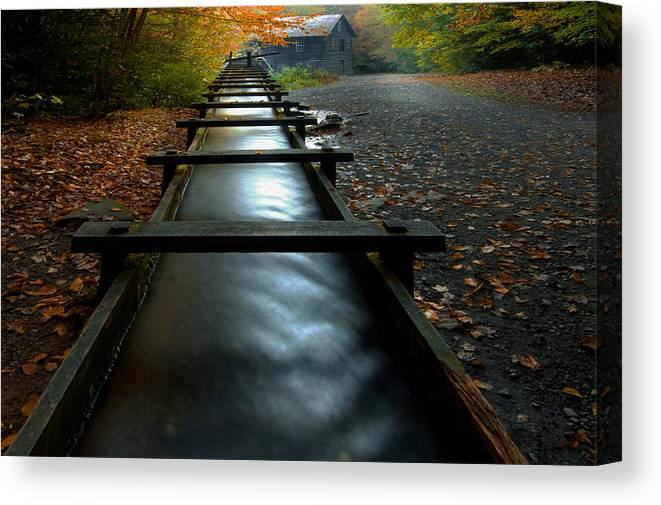 Water Mill Canvas Print featuring the photograph Water Chute by Ron Sloan