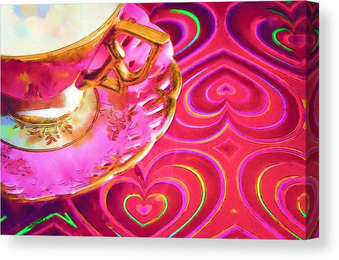 Teacup Canvas Print featuring the photograph Your My Cup Of Tea Watercolor by Kathy Clark