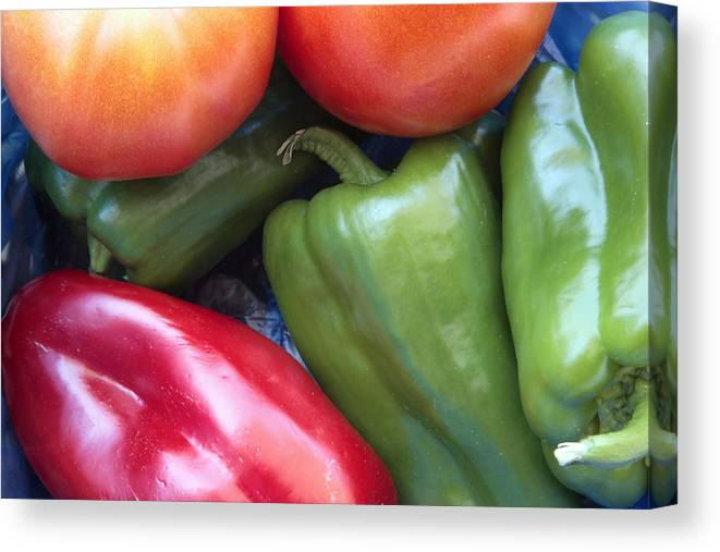Red Canvas Print featuring the photograph Fresh Peppers And Tomatoes by Steve Outram