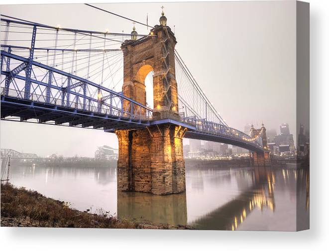 Roebling Bridge Canvas Print featuring the photograph The Roebling Bridge by Keith Allen