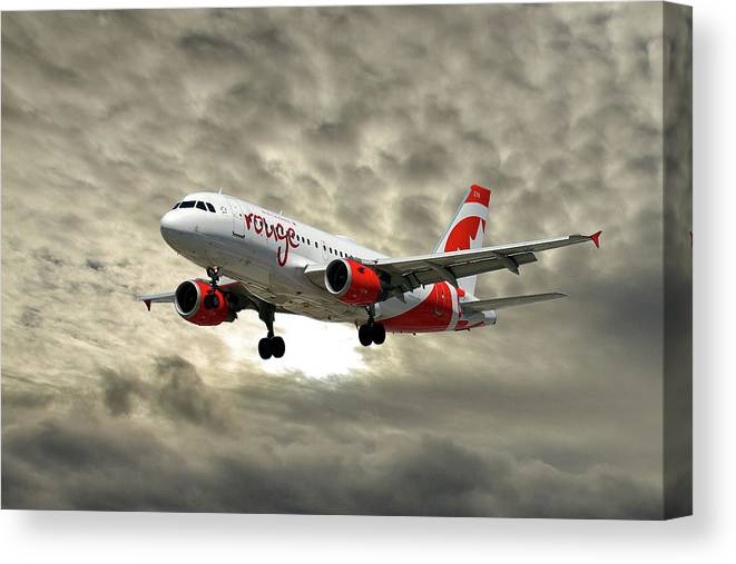 Air Canada Canvas Print featuring the photograph Air Canada Rouge Airbus A319 by Smart Aviation