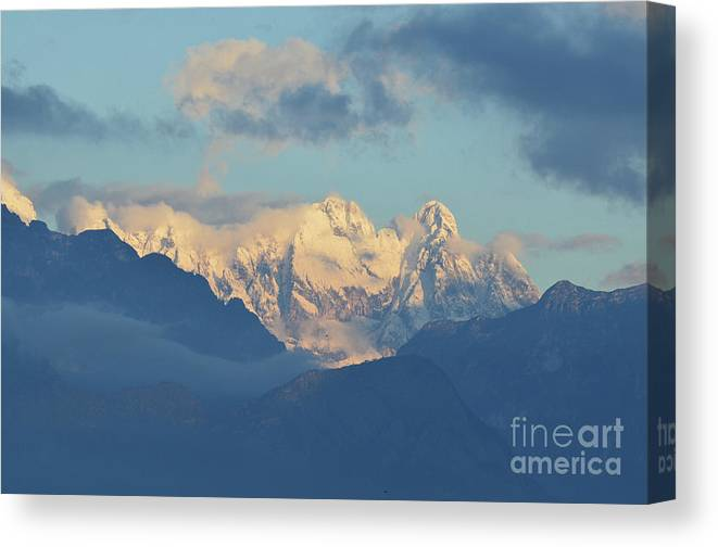 Mountains Canvas Print featuring the photograph Breathtaking Scenic View Of The Alps In Italy by DejaVu Designs