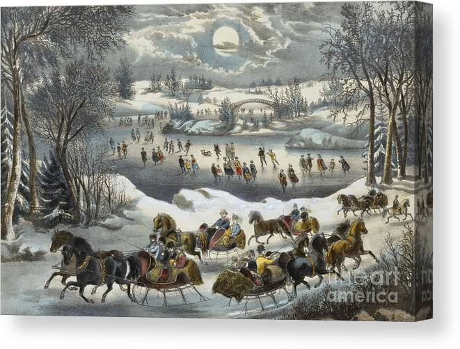 Print Canvas Print featuring the painting Central Park In Winter by Currier and Ives