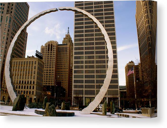 Detroit Canvas Print featuring the photograph Circle Of Labor by Sonja Anderson