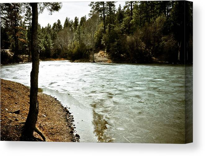 Lake Canvas Print featuring the photograph Frozen Lake by Brenton Woodruff