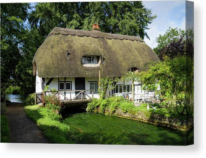 Cottage Canvas Print featuring the photograph Fulling Mill Arlesford by Shirley Mitchell