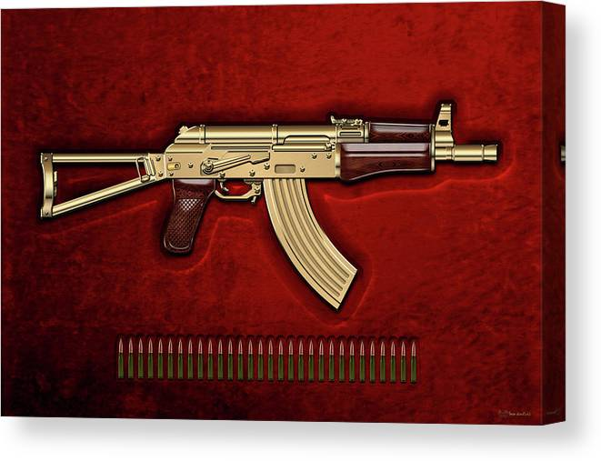 'the Armory' Collection By Serge Averbukh Canvas Print featuring the photograph Gold A K S-74 U Assault Rifle With 5.45x39 Rounds Over Red Velvet  by Serge Averbukh