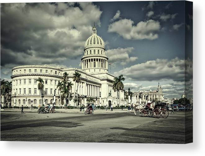 Havana Canvas Print featuring the photograph Havana National Capitol by Mountain Dreams