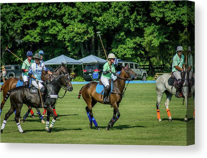 Banbury Cross Canvas Print featuring the photograph Polo Group 1 by Sarah M Taylor