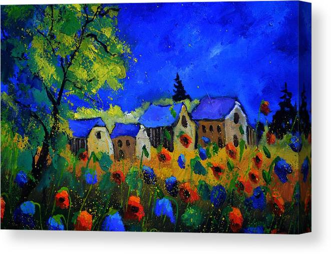 Poppies Canvas Print featuring the painting Poppies by Pol Ledent