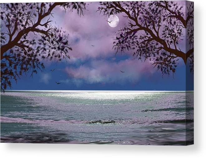 Seascape Canvas Print featuring the digital art Reflections by Tony Rodriguez