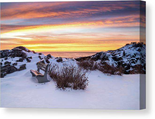Maine Canvas Print featuring the photograph Sunrise At Marginal Way by Dennis Dube