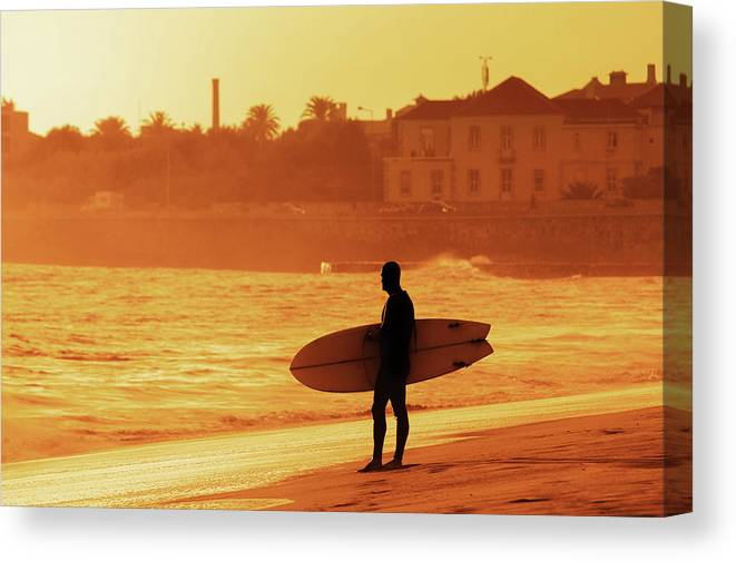 Surfer Canvas Print featuring the photograph Surfer Silhouette by Carlos Caetano