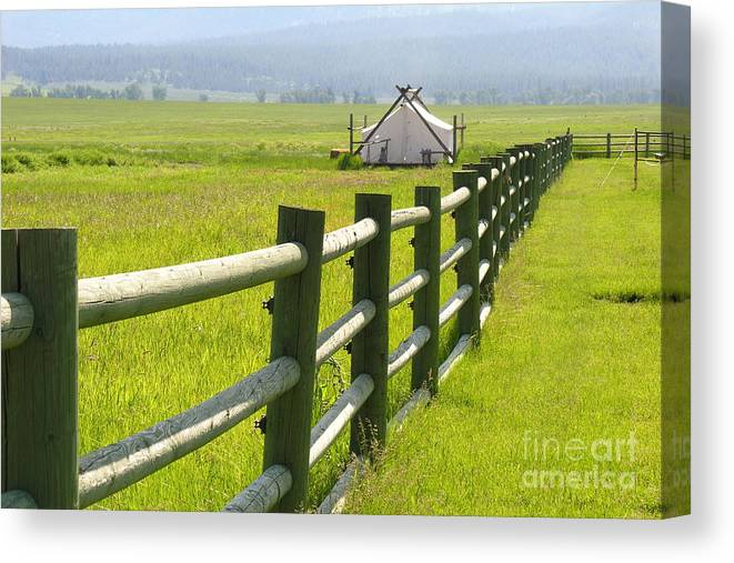 Canvas Canvas Print featuring the photograph Tent Living Montana by Diane Greco-Lesser