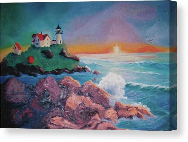 Beach Canvas Print featuring the painting York Beach Maine by Suzanne Marie Leclair