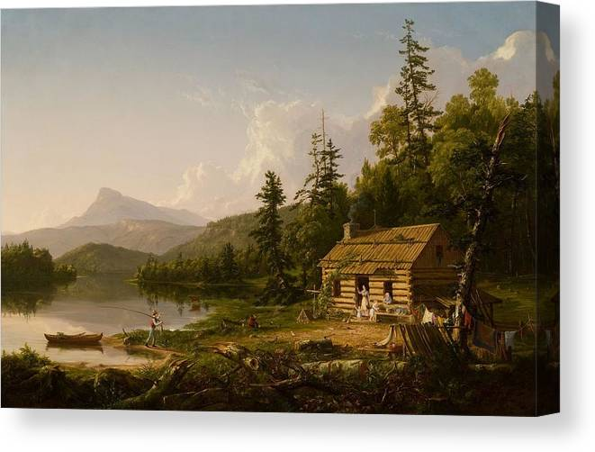 Home In The Woods Canvas Print featuring the painting Home In The Woods by Thomas Cole