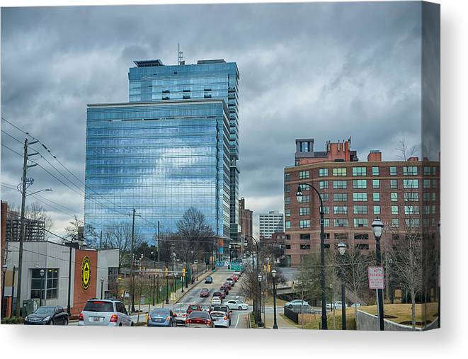 International Canvas Print featuring the photograph Atlanta Downtown Skyline Scenes In January On Cloudy Day by Alex Grichenko