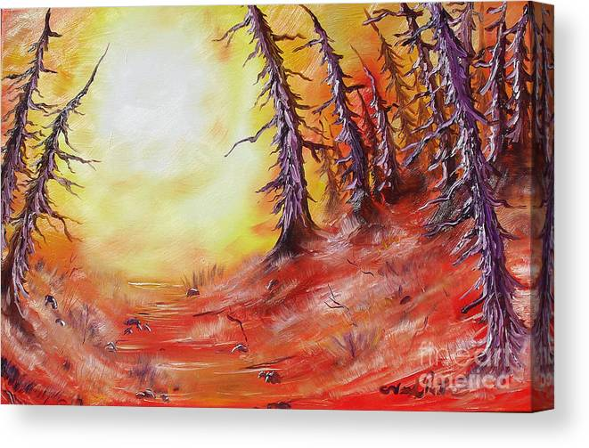 Abstract Canvas Print featuring the painting 16 Trees by Joseph Palotas
