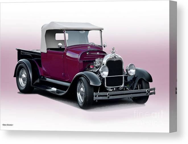 Auto Canvas Print featuring the photograph 1928 Ford Roadster Pickup I by Dave Koontz